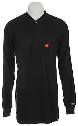 RIGGS by Wrangler Mens Navy Flame Resistant Long Sleeve Henley Shirt