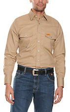 Wrangler FR Khaki Long Sleeve Western Snap Workshirt