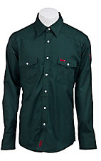 Wrangler Mens Flame Resistant Green Workshirt- Tall Sizes