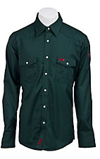 Wrangler Mens Flame Resistant Green Workshirt - Big