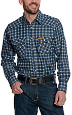 Wrangler Mens Flame Resistant LS Plaid Workshirt- Bigs