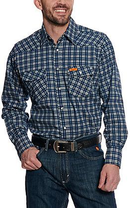 Wrangler Men's Navy Plaid Flame Resistant Long Sleeve Work Shirt - Extended Sizes