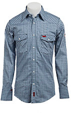 Wrangler Mens Flame Resistant LS Plaid Workshirt FR703BLT- Tall Sizes