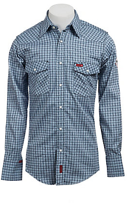 Wrangler Men's Flame Resistant LS Plaid Workshirt FR703BLX- Big Sizes