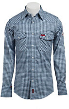 Wrangler Mens Flame Resistant LS Plaid Workshirt FR703BL