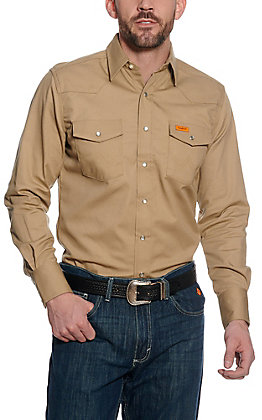 Wrangler FR Khaki Long Sleeve Western Snap Workshirt - Big & Tall