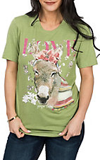 XOXO Art & Co. Women's Green Love Burro Graphic S/S T-Shirt
