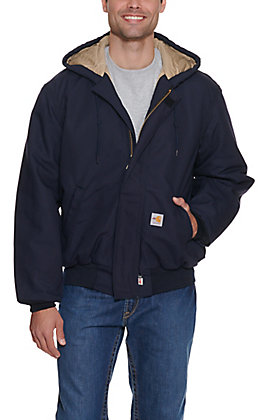 Carhartt Mens Navy Flame-Resistant Duck Active Quilt-Lined Jacket