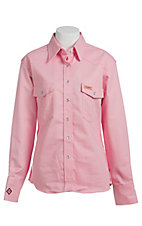 Wrangler Ladies Pink Twill Western Flame Resistant Shirt