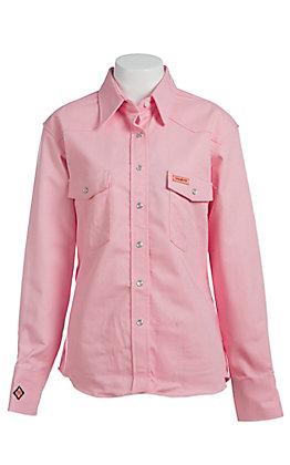 Wrangler Ladies Pink Twill Western Flame Resistant Shirt