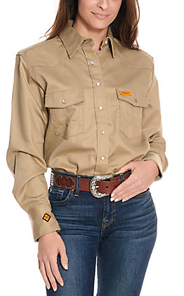 Wrangler Women's Khaki FR Work Shirt