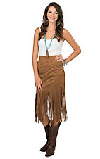 Fornia Women's Camel Faux Suede with Long Fringe Asymmetric Skirt