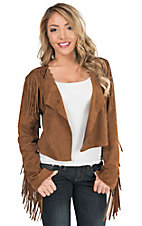 Fornia Tobacco Suede with Fringe Crop Jacket