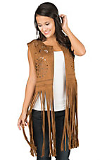 Fornia Women's Camel Faux Suede Punched Out Pattern with Fringe Bottom Hem Sleeveless Vest