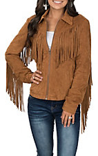 Fornia Women's Camel Faux Suede with Fringe Jacket
