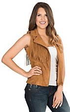 Fornia Women's Camel Faux Suede with Fringe Sleeveless Motorcycle Vest