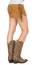 Fornia Women's Tobacco Suede with Side Fringe Shorts