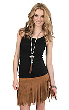Fornia Tobacco Suede Studded Fringe Overlay Skirt