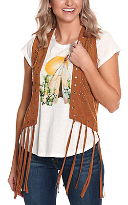 Fornia Women's Camel Brown Faux Suede with Studs and Fringe Vest