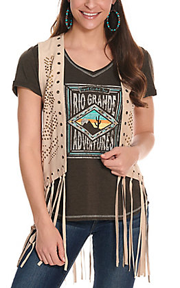 Fornia Women's Stone Faux Suede with Studs and Fringe Vest