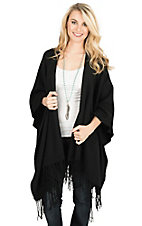 Fornia Women's Black with Fringe Poncho Wrap