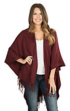 Fornia Women's Burgundy with Fringe Poncho Wrap