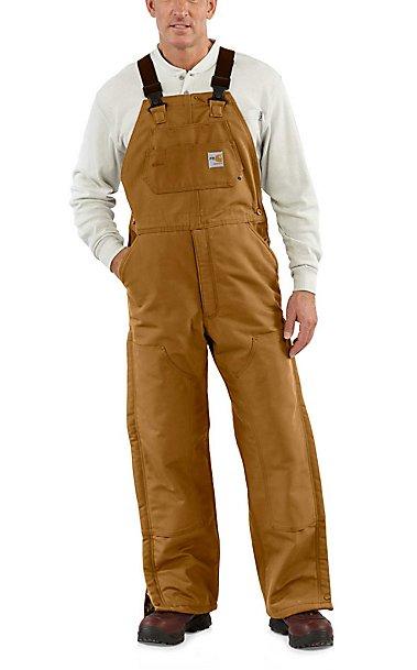 Carhartt Brown Flame-Resistant Quilt Lined Duck Bib Overall ... : carhartt quilt lined duck bib overalls - Adamdwight.com