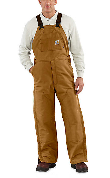top-rated discount competitive price bottom price Carhartt Brown Flame-Resistant Quilt Lined Duck Bib Overall