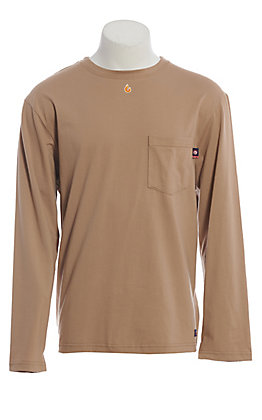 Lapco FR Men's Khaki Long Sleeve Work T-Shirt