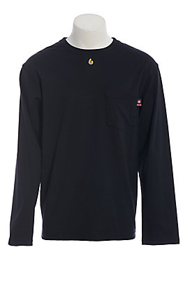 Lapco FR Men's Navy Blue Long Sleeve Work T-Shirt