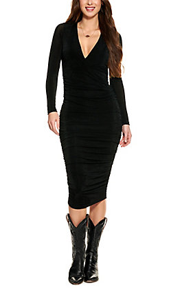 Fiestar Women's Black Deep V-Neck Long Sleeve Dress