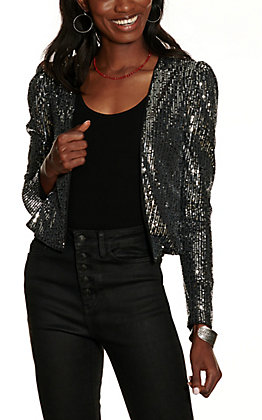 Fiestar Women's Black and Silver Sequin Long Sleeve Jacket