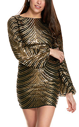 HYFVE Women's Gold and Black Open Back Long Balloon Sleeve Dress
