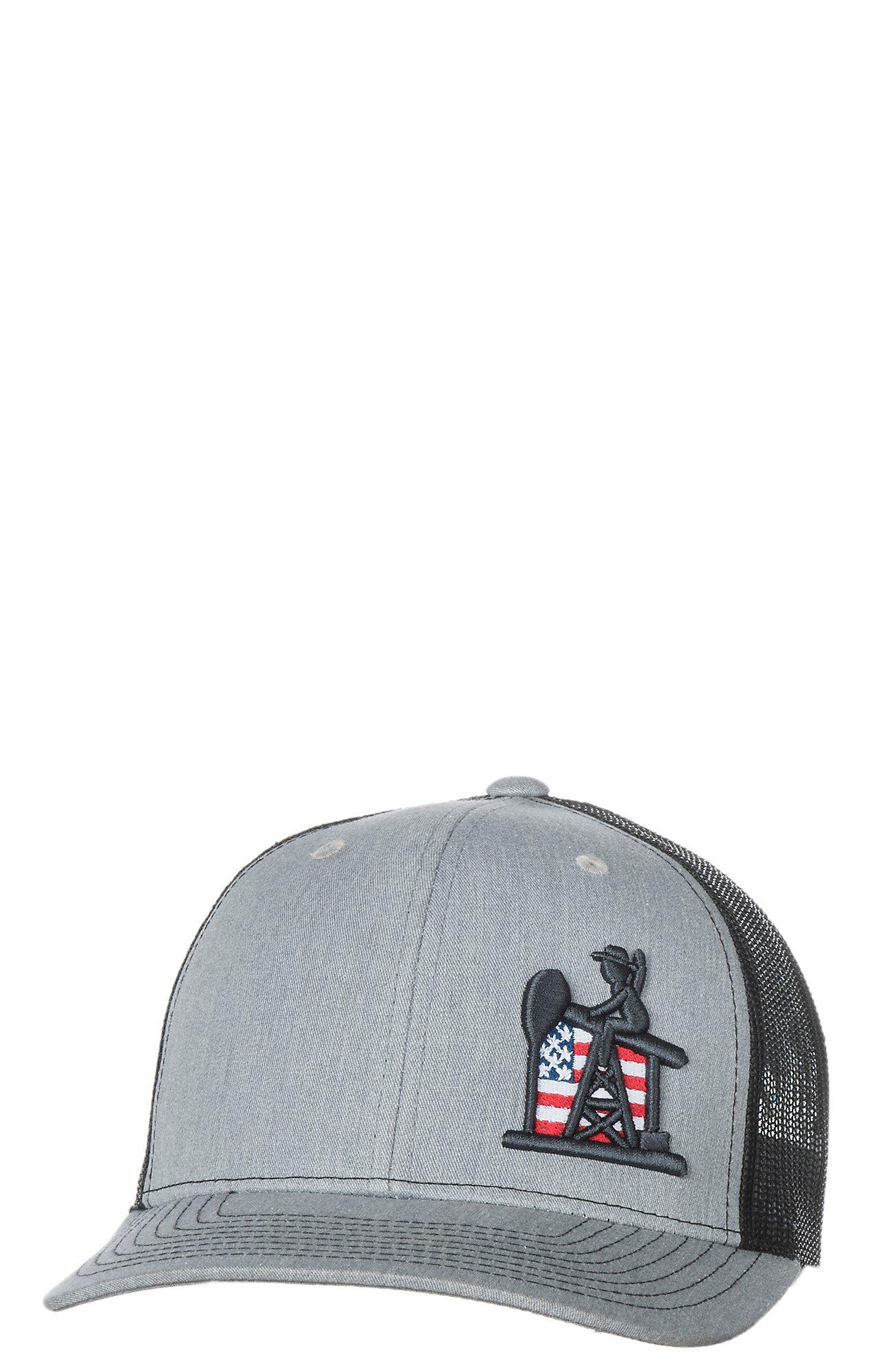 PJ Cowboy Grey   Black Pump Jack Patriot Snap Back Cap  65bd7793ec5