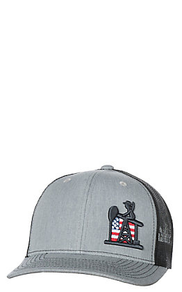 PJ Cowboy Grey & Black American Flag Pump Jack Patriot Snap Back Cap