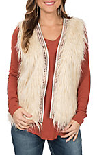 Flying Tomato Women's Ivory Shag Vest