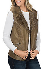 Fornia Women's Green Faux Leather and Fur Vest