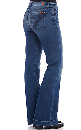 7 for All Mankind Women's Dojo Lake Blue Dark Wash Mid Rise Trouser Leg Jeans