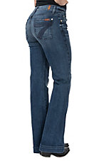 7 For All Mankind Women's Lake Blue Dojo Trouser Jeans