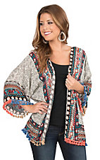Umgee Women's Cream and Black Multi Print with Tassel Fringe Long Sleeve Kimono