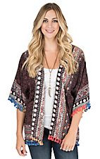 Umgee Women's Sunset and Black Multi Print with Tassel Fringe Long Sleeve Kimono