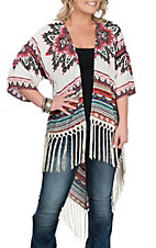 Umgee Women's Multi-Color Printed Hi-Low with Fringe Kimono
