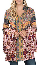 Umgee Women's Multi Print Bell Sleeve Tie Neck Tunic