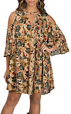 Umgee Women's Taupe Floral Cold Shoulder Dress