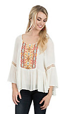 Umgee Women's Cream Embroidered Long Bell Sleeve Ruffled Bottom Fashion Top