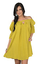 Umgee Women's Yellow Green Cinched 3/4 Sleeve Off Shoulder Tent Dress