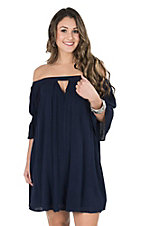 Umgee Women's Navy Blue Cinched 3/4 Sleeve Off Shoulder Tent Dress
