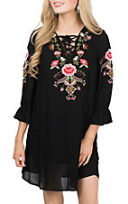 Umgee Women's Black Embroidered and Ruffle 3/4 Sleeve Dresss