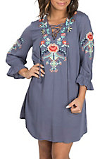 Umgee Women's Blue Floral Embroidered Peasant Dress