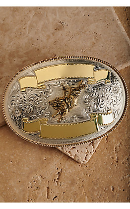 Montana Silversmiths Silver and Gold Bull Rider Large Trophy Buckle